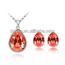Moda vermelho diamante jóias de cristal austríaco jóia mais quente da Europa conjunto