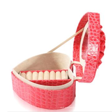 Nova caixa de anel de jóias de couro rosa moda (JB-CR-B2)