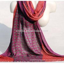 Fashion plaid print viscose ladies scarf