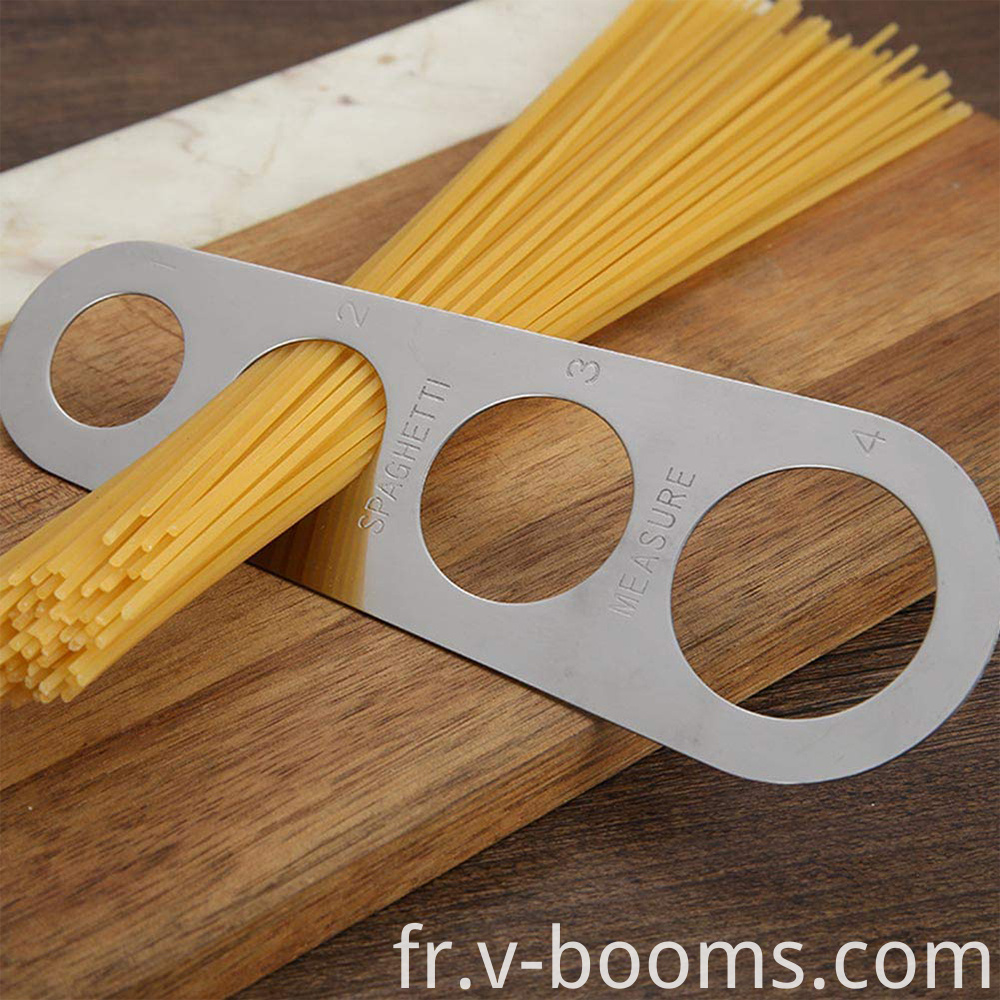 Spaghetti measure kitchen utensil is exceptionally simple and practical tool that serves us to measure amount of dry pasta quickly and accurately. There are various models that do not differ much one from another. In general, they are all just a small flat boards that have 4 different-sized openings on them. Spaghetti measures are made out of wood, metal or plastic, and the material selection depends solely on which of these materials you prefer.
