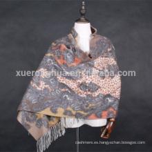 doble cara digital impresa paisley patrón cashmere chal para el invierno