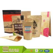 FDA Audit Factory Sale Custom Artwork Printing Stand up Food Grade Kraft Paper Bags with Ziplock
