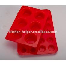De alta calidad barata resistente al calor no tóxico antiadherente de alimentos de grado Bakeware torta fabricante Muelle de silicona Pan-cupcake Pan
