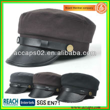 2013 New Design Leather Brim Ladies Coreano Fahsion Chapéus AMC-1206