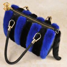 Sacs à main en cuir véritable et à fourrure en fourrure Sac de voyage en fourrure bleu et noir
