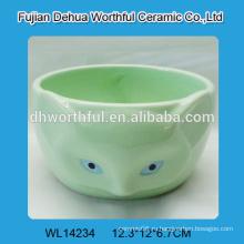 Зеленая керамическая чаша в форме симпатичного лиса для оптовой продажи