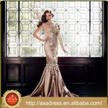 EDB-06 Luxo Crystal Formal Party Vestido 2015 Moda Design Um Ombro Mermaid Andar de comprimento Long Sleeve Evening Dress