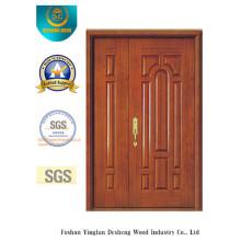 Porte double en MDF de style chinois avec bois massif pour l'entrée (xcl-025)