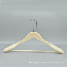 Top quality white plastic coat suit clothes hanger top plastic hanger with Non slip bar  for cloths
