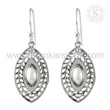 Jaipur stilvolle Perlen-Edelstein-Ohrring 925 Sterlingsilber-Großhandelsschmucksache-handgemachte silberne Schmucksachen