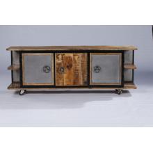 Industrial Vintage Metal Door TV Stand with Shelfs