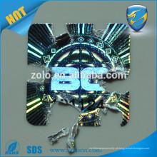 Anti-falso adesivo de holograma destrutivo reflexivo com tecnologia de alta segurança