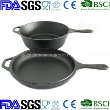 Preseaseond Double Use Cast Iron Saucepan with Skillet Lid Combo Cooker