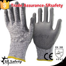 SRSAFETY 13G knitted liner coated PU on palm Anti-cut safety working gloves, cut level 5