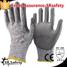 SRSAFETY 13G вязаный вкладыш с покрытием PU на ладонь Защитные рабочие защитные перчатки, срезанный уровень 5