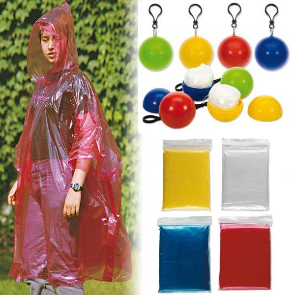Rain ball style ponchos packings ball