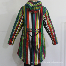 Colourful Stripe Hooded PVC Raincoat for Woman