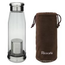 Botella de agua de vidrio con bolsa protectora y filtro