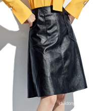 Fashion Tinggi Selutut Midi Hitam A-line PU Leather