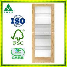 1 porta francesa do folheado de madeira de Lite / Glass Shaker
