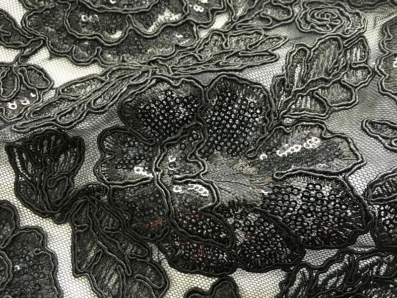 Cord Embroidery Fabric With Sequins