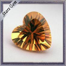 Precio competitivo Golden Yellow Heart forma de piedra
