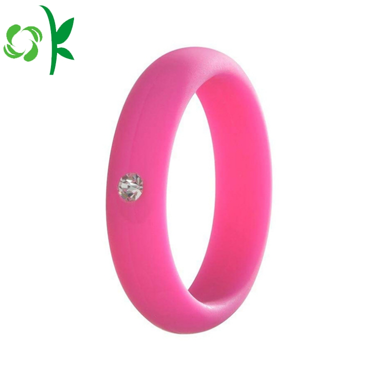deep pink silicone ring with daimond