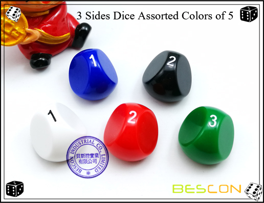 3 Sides Dice Assorted Colors of 5-4
