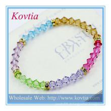 Belas jóias de cristal avenida atacado jóia de cristal talão pulseira amizade pulseiras de couro