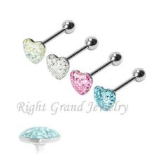Heart Shaped Multi Gems Epoxy Pink Custom Made Tongue Rings