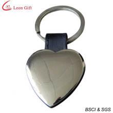 2016 vente chaude cuir blanc porte-clés en métal