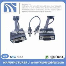 Никелированный кабель 15PIN 3 + 6 VGA для VGA с 3,5 мм аудио для ПК