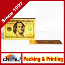 Deck von 24k Gold Folie Plating Poker Plastik Spielkarten mit Echtheitszertifikat Doppelseitige Farbe bedruckt (430001)