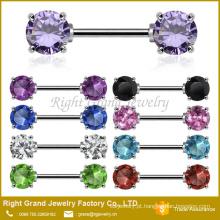 Frente enfrentando Cubic Zirconia 5mm 7mm bocal de aço cirúrgico pedras preciosas anel Barbell jóias