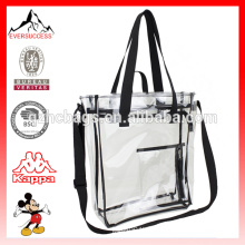 Bolso de compras transparente claro de la bolsa de asas del PVC con la bolsa de la cremallera