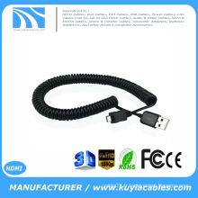 Haute qualité Spring Coiled USB 2.0 A à Micro USB B mâle à mâle Charge de données Câble rétractable 1m