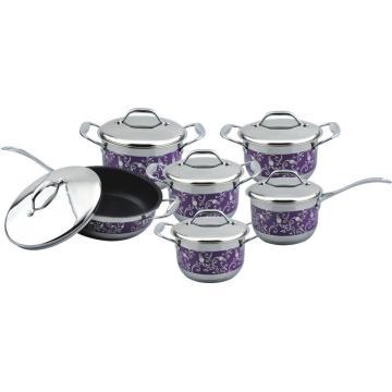 12pcs purple flower  painting casserole set