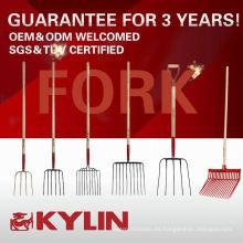 El mejor precio robusto forjado acero carbono 4 diente jardín tenedor