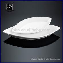 Placa de cerâmica placa de jantar oval placa placa de forma de folha