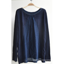 Woman Long Sleeve Round Neck Knit Pullover Sweater