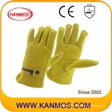 Ajustable correa de piel de vaca grano de seguridad industrial de seguridad de trabajo guantes de seguridad (12205)