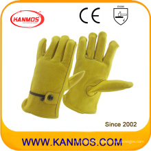 Adjustable Strap Cowhide Grain Industrial Safety Leather Driver Work Safety Gloves (12205)