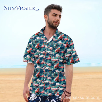 Kurzarm-Flamingodruck-Hawaiihemd Custom Men