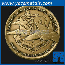 personalize moedas de metal, moeda de prova da Base Aérea Langley, crachás