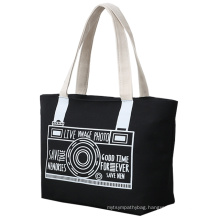 Wholesale fashion promotional custom printed logo cotton canvas tote bag for shopping