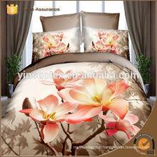 luxury flower printed bedding set,100% polyester disperse printed