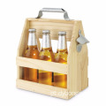 Brown color Wooden Caddy Tote For Six Pack Beer Sodas with Bottle Opener