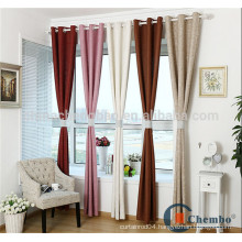 Modern linen fabric eyelet curtains with wide tape