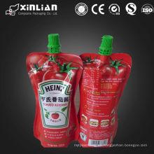 Bolsa de empaquetado de la salsa de tomate del plástico del laminado de la venta del pico caliente de la venta / bolso de empaquetado plástico de la salsa de tomate