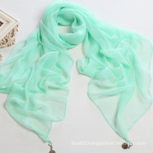 Pure Color Polyester Chiffon Scarf Shawl